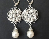 Pearl Bridal Earrings, Vintage Wedding Earrings, Chandelier Earrings, Pearl Drop Earrings, Vintage Art Deco Wedding Jewelry, CELINE