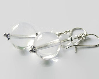 Pools of Light Crystal earrings.  Art Nouveau inspired drops.  Sterling silver. crystal ball orb