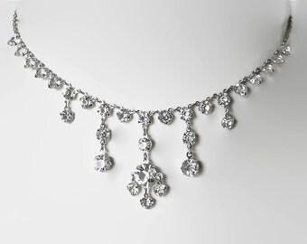 Art Deco crystal necklace. Open back. Wedding bridal necklace. rhinestone necklace.