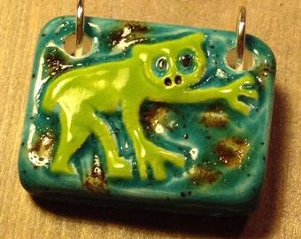 Loris Animal Ceramic Art Pendant Handmade