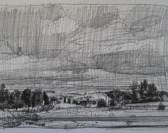 Morning On Racetrack Road, Original Landscape Pencil Drawing, Stooshinoff