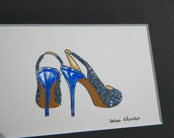 Mix Jewels Sparkle High Heel Shoes Wedding Showers Gifts Glitter Fashion Inspired Art Original Painting Illustration by Artist Debra Alouise