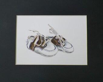 Baby Shoes Art Original Watercolor Nursery Room Childrens Painting by Artist Debra Alouise
