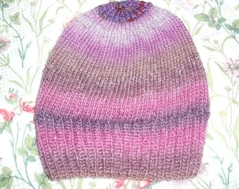 Hand knit knitted wool hat cap watchcap beanie plum grape purples browns large men women teens chapeau