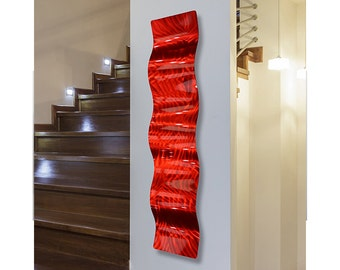 Large Red Modern Metal Wall Art, Abstract Wall Sculpture, Contemporary Home & Office Decor, Indoor Outdoor Art - Red Fire Wave by Jon Allen
