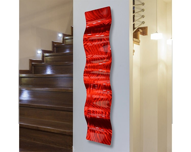 new painted abstract metal wall art sculpture red fire wave. Black Bedroom Furniture Sets. Home Design Ideas