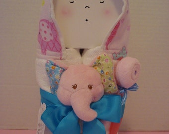 Ella Bella/ Baby Hooded Towel/gift set/New baby/baby shower/Pink Elephant/booties/washcloth/spoon/baby wipes
