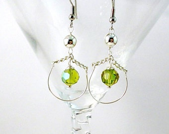 Swinging Peridot Crystal Loop Earrings