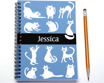 Personalized planner for cat lover, weekly planner, custom gift idea, cat gift, 2016 calendar, cat present, SKU: pl cat white