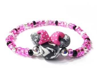 Black & White Hot Pink Zebra Mini Mouse Black Mouse Ear Bracelet Hypoallergenic Handmade mouse beads mini mouse ears Polka Dot Bow