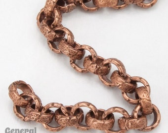 6.3mm Antique Copper Textured Vintage Style Rolo Chain #CC253