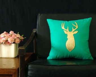 Teal Green + Metallic Gold Deer Head Pillow - SALE Ready to ship!