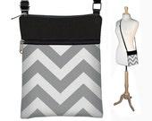 SALE Gray Chevron Sling Bag Shoulder Purse Cute Cross Body Bag Small Travel Purse Zipper Fits eReaders white black RTS
