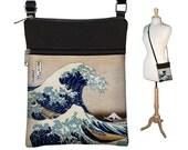 Small Cross Body Purse Great Wave by Hokusai Art Crossbody Bag Sling Shoulder Bag fits eReader ipad mini zipper blue yellow  RTS