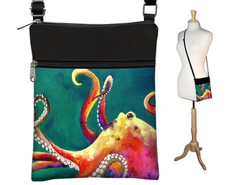 Clara Nilles Sling Bag, Shoulder Bag, CrossBody Purse, Small CrossBody Bag, Cross Body Bag, Cross Body Purse, Octopus teal MTO