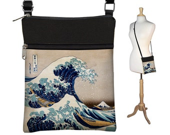 Small Cross Body Purse Great Wave by Hokusai Art Crossbody Bag Sling Shoulder Bag fits eReader ipad mini zipper blue yellow  RTS