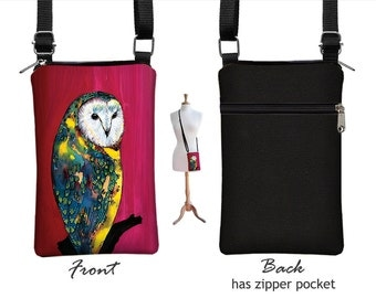 Clara Nilles Owl  iPhone 6 case, Fabric iPhone 6 Plus Cell Phone Purse, Small Crossbody Bag, Zipper Pocket red blue yellow MTO