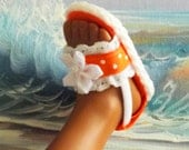 Hearts 4 Hearts Corolle Les Cheries Sandals Shoes Orange With Lace and Ribbon Accents