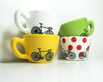 Tour de France 12oz cups set of 4, Made to Order.