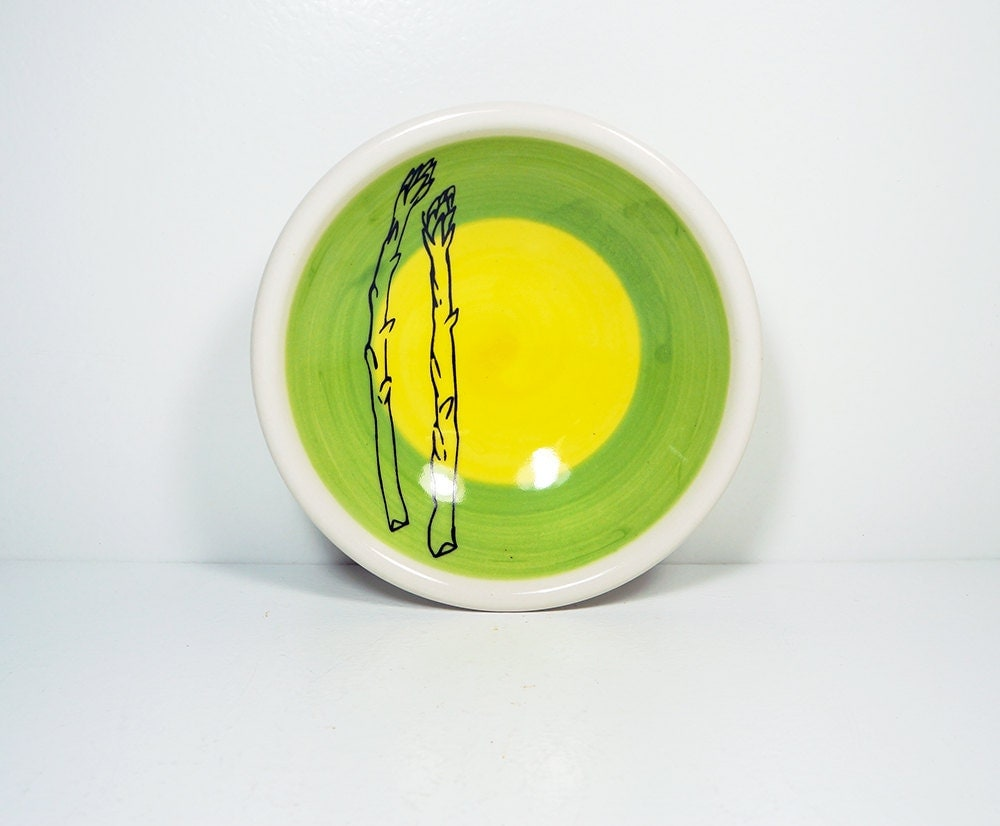 small dish, with two asparagus stalks on a color block of leaf & yellow, made to order.