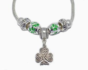 """Celtic Shamrock Bracelet 8"""" Snake Chain Large Hole European Beads St. Patrick's Day Ireland"""
