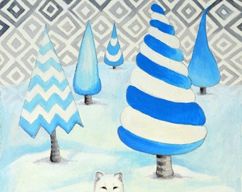 Winter Foxes - Original Watercolor Painting