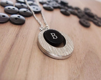 One of a kind gift idea | Personalized necklace | White letter on black paper print | Button and moonshaped pewter pendant | Monogram jewel