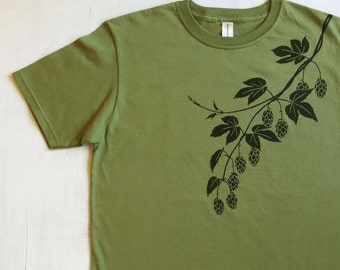 Mens Graphic Tee- Organic Cotton T Shirt- Mens Green T Shirt- Beer Screen Printed Shirt with Hops - 100% Organic Cotton Clothing for Men