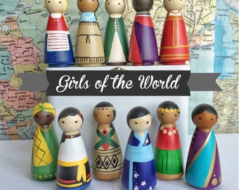 Girls of the World - Hand-painted Peg Dolls