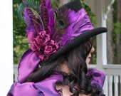 Taffeta Temptress - Gothic Victorian top hat - Made to order