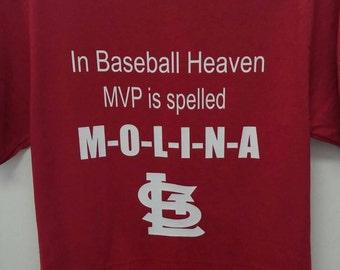 Boutique St. Louis Baseball Cardinals , Baseball Heaven, MVP Molina Baseball T-shirt.