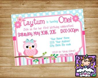 Personalized  Pink and Aqua Owl Birthday Invitation