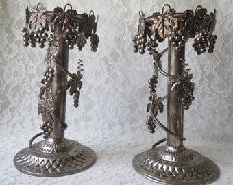 Studio Silversmiths Silverplate Grapevine & Leaves Ornate Taper Pillar Candleholders Set of 2