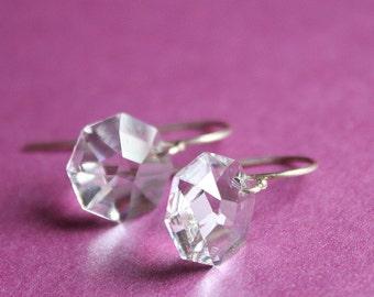 Swarovski Octagon Earrings - Sterling Silver