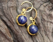 Avocado Lapis Brass Earrings