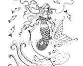 Mermaid with Octopus - Digital Stamp - Printable - Mermaid Art - Molly Harrison Fantasy Art - Digistamp Coloring Page