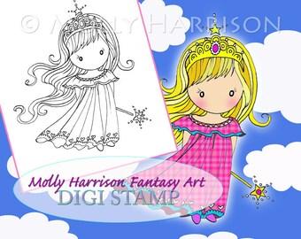 Little fairy Princess - Digital Stamp - Printable - Mermaid Art - Molly Harrison Fantasy Art - Digi Stamp Coloring Page - Instant Download