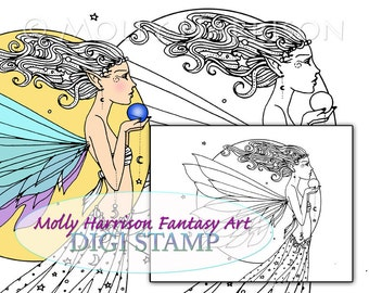 Celestial Fairy - Digital Stamp - Printable - Ethereal Fairy Art - Molly Harrison Fantasy Art - Digistamp Coloring Page - 8.5 x 11
