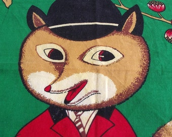 Vintage Kitsch Tea Towel  - Hunting Fox on a green background