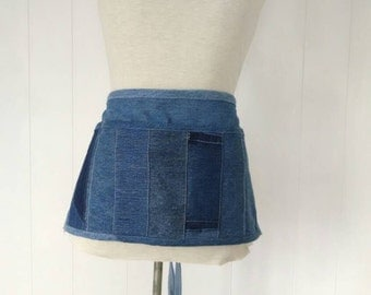 Recycled Denim Vendor Apron with Hidden Zippered Pocket Upcycled