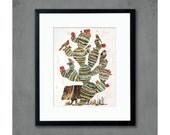 Southwestern Cactus with Javelina Art Print