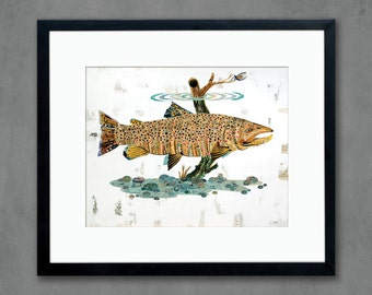 Brown Trout Swimming in Stream Art Print