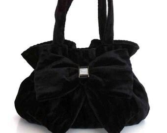 Velvet bow bag Black fabric handbag Black purse Handmade women fashion handbag Evening purse Retro purse , Mother's day gift , Black bag