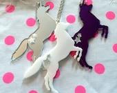 Prancing Unicorn Pendant Necklace in White, Purple, or Silver