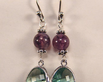 Gemstone dangle Earrings Argentium Silver