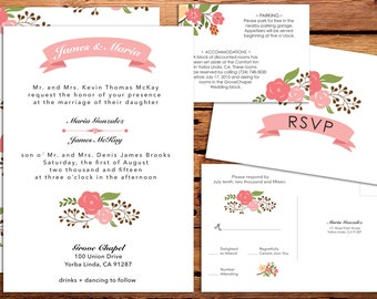 Pink Floral Printable Wedding Invitation, Postcard RSVP and Info Card