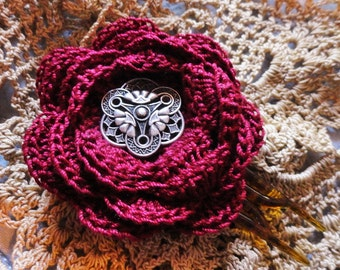 Victorian Steampunk Burgundy Lace Crochet Flower Vintage style hair clip