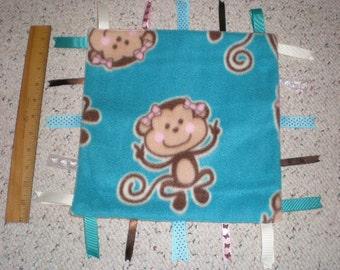 Cute Monkey Girl Print Baby Sensory Taggie Blanket