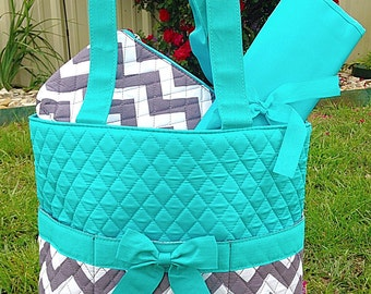 New 3 Piece Turquoise and Gray Diaper Bag Set Includes Name or  Monogrammed Initials