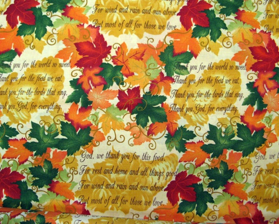 "Fat Quarter Thanksgiving Fabric ""Thanksgiving Prayer ..."